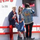 Hailey Baldwin Photoshoot at Pink's Hot Dogs in Los Angeles Ca April 19, 2016