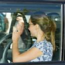 Kate, William and their baby George left Kensington Palace today as they were seen for the first time since leaving hospital last night