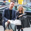 Aaron Paul and his wife Lauren Parsekian are seen arriving at The Bowery Hotel in New York City, New York on March 31, 2016 - 454 x 570