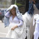 Abi Titmuss wearing her wedding dress in Malibu - 454 x 681