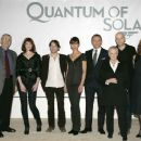 Press conference on the set of Quantum of Solace at Pinewood Studio. Left to right: Producer Michael G. Wilson, Gemma Arterton, Mathieu Amalric, Olga Kurylenko, Daniel Craig, Judi Dench, Director Marc Forster and Producer Barbara Broccoli. Byline David De - 454 x 379