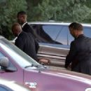Bobbi Kristina's casket is seen being removed from a hearse and carried into the St. James United Methodist Church ahead of her funeral services on August 1, 2015 in Alpharetta, Georgia