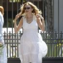 Heather Graham in White Dress – Arriving at a friend's house in Malibu