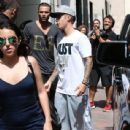 Justin Bieber is seen leaving Niketown in Beverly Hills, California after enjoying some sneaker shopping on June 26, 2015