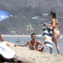 Bella Hadid in Black and White Bikini at the beach in Thousand Oaks - 454 x 358