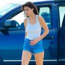 Bella Hadid in Jeans Shorts – On set of a photoshoot in Long Beach