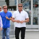 Sylvester Stallone goes for a stroll with friends in Beverly Hills on April 6, 2016