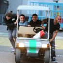 30th March, 2013: Simon Cowell, Lewis Hamilton, Ant, Dec filming for the Saturday evening TV show, Saturday Night Takeaway