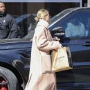 Hailey Bieber in Long Coat – Out in Los Angeles
