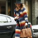 Rosie Huntington Whiteley in Colorful Coat Out in New York - 454 x 681