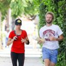 Nikki Reed and husband, Paul McDonald running in Studo City, CA (July 10)