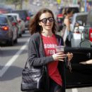 Lily Collins Leaves workout in Beverly Hills - 454 x 540