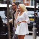 Pixie Lott – In white dress out in London - 454 x 711