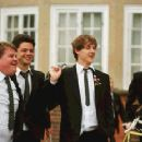 L to R: James Corden as Timms, Dominic Cooper as Dakin, Andrew Knott as Lockwood and Jamie Parker as Scripps in comedy drama 'The History Boys'