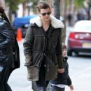 Linda Evangelista And Son Walking In Chelsea