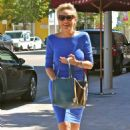 Sharon Stone In Blue Mini Dress Out In Beverly Hills