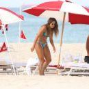 Sarah Kohan in Blue Bikini on the beach in Miami