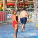 Billie Faiers in Red Swimsuit at a water park in Dubai - 454 x 468