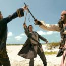 Jack Davenport, Orlando Bloom and Johnny Depp in Walt Disney Pictures' Pirates of the Caribbean: Dead Man's Chest - 2006