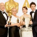 J.K. Simmons, Patricia Arquette, Julianne Moore and Eddie Redmayne At The 87th Annual Academy Awards (2015) - Press Room - 454 x 302