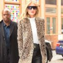 Rosie Huntington Whiteley in Leopard Print Coat out in SoHo