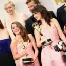 Sophie Turner, Gwendoline Christie, Nikolaj Coster-Waldau, Maisie Wlliams, Carice Van Houten, Peter Dinklage - September 20, 2015- 67th Annual Primetime Emmy Awards - Press Room - 454 x 303