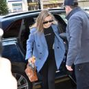 Gigi Hadid in Blue Coat – Out and about in Paris
