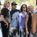 Joe Elliott, Phil Collen and Vivian Campbell of Def Leppard appear for a performance and interview with Mario Lopez of 'Extra' at The Grove, California on June 1st, 2012 - 368 x 594