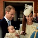 Kate Middleton with Prince William arriving at Prince George's christening (October 23)