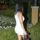 Kourtney Kardashian in White Mini Dress – Night out in Calabasas