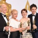 J.K. Simmons, Patricia Arquette, Julianne Moore and Eddie Redmayne At The 87th Annual Academy Awards (2015)  Press Room - 454 x 302