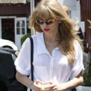Taylor Swift was spotted getting a caffeine fix in Brentwood, CA today, May 19