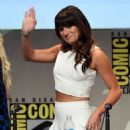 Actress Lea Michele walks onstage at the