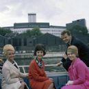 """Michèle Demai, Roger Moore and Denise Fabre when making TV-show """"Roger Moore : le Saint à Paris"""""""