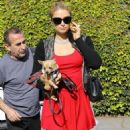Paris Hilton stops by the salon on December 24, 2014 in Beverly Hills, California