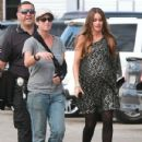 Sofia Vergara gives the camera a wave while on set in Long Beach, California on November 14th, 2012
