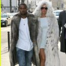 Amber Rose and Kanye West at The Louis Vuitton Fashion Show in Paris, France - January 21, 2010