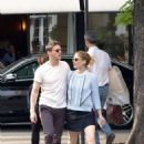 Kate Mara in Mini skirt with Jamie Bell out in Paris - 454 x 666