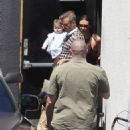 David and Harper Beckham Celebrates Victoria's Birthday