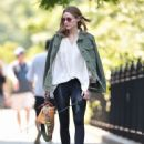 Olivia Palermo with her dog out in Brooklyn - 454 x 568