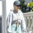 Rita Ora – Wearing a green leggings in Notting Hill