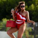 Charlotte Dawson – Red Swimsuit for Photoshoot in Tenerife - 454 x 723