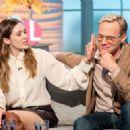 Elizabeth Olsen and Paul Bettany on 'Lorraine' TV show in London - 454 x 323
