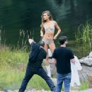 Josephine Skriver Shooting a commercial for Victoria Secret's upcoming holiday catalog in Aspen - 454 x 550