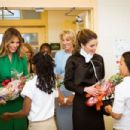 Rania Al Abdullah and Melania Trump visited the Excel Academy Public Charter School in Washington - 454 x 303