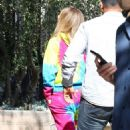Jennifer Lopez – In a colorful sweatsuit in Los Angeles