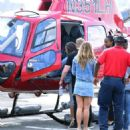 Demi Lovato boarding an helicopter in New York City