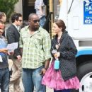 Blake Lively, Leighton Meester and Ed Westwick on the set of