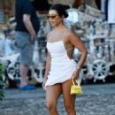 Kourtney Kardashian in White Mini Dress – Out in Portofino