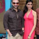 Saif and Deepika at Aarakshan Press Meet